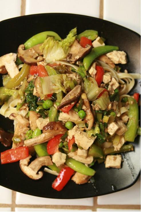 Asian vegetable stir fry over pasta