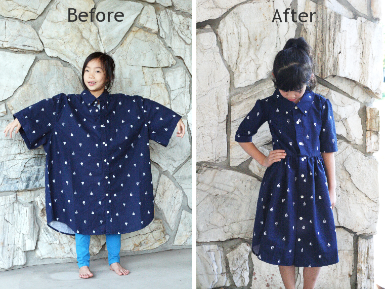 83e0de75097e5 DIY: Men's XL shirt into a little girl's dress | Life is Beautiful