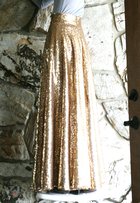 diy gold sequin circle skirt midi and maxi is