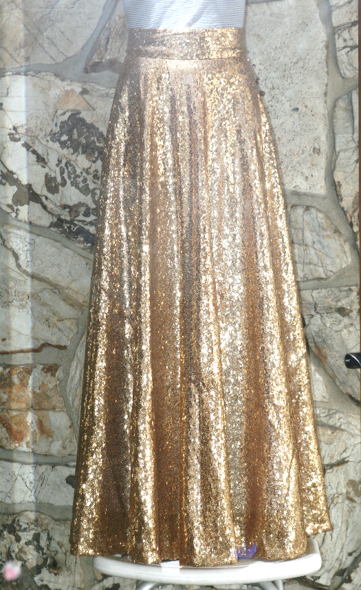 DIY: Gold sequin circle skirt; midi and maxi - Life is Beautiful