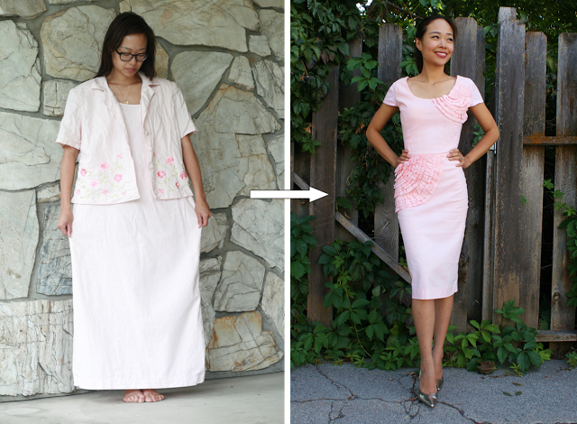 Oversized thrift dress suit refashion ideas
