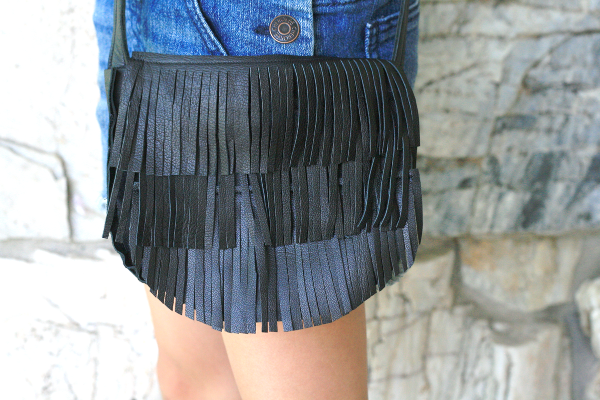 DIY: Men's Leather Jacket to fringe tote bag + fringe shoulder bag