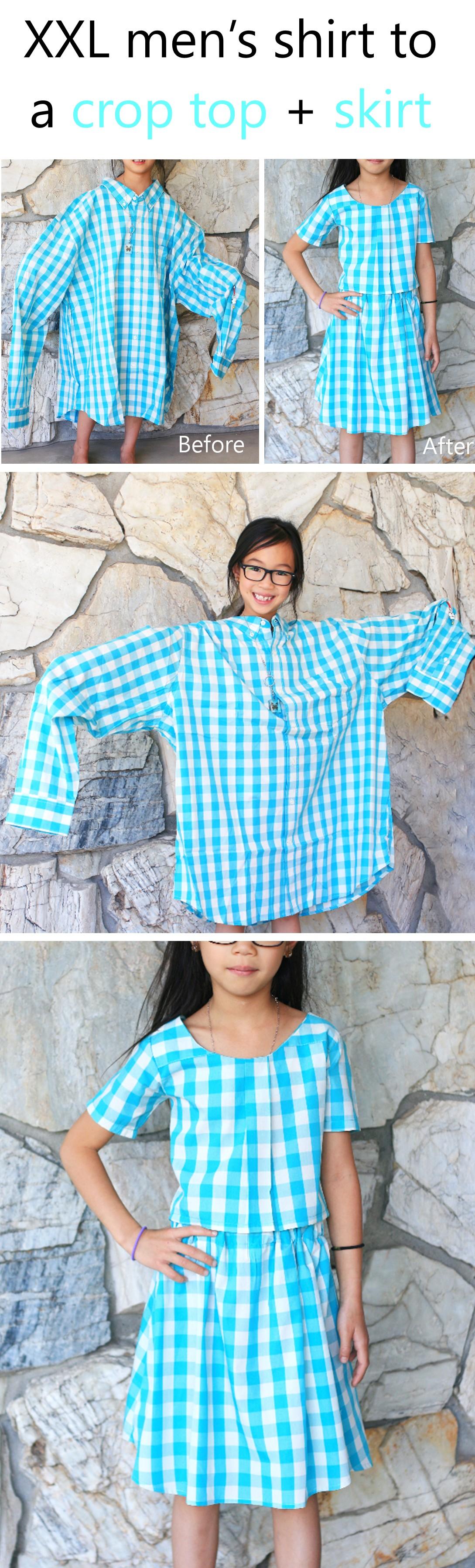 XXL men's shirt into a girl's dress