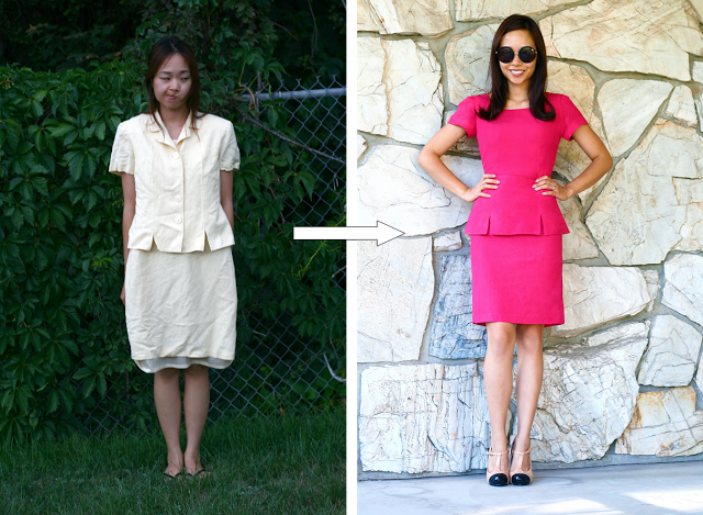 Outdated yellow dress to a red peplum dress