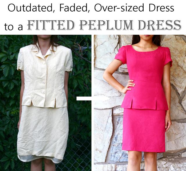 Vintage dress refashion to peplum