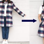 Refashion Revision Episode 5: Plaid COAT TO OVERALL DRESS DIY
