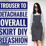 DIY: TROUSER TO OVERALL/BIB SKIRT REFASHION || How to Transform Old Clothes