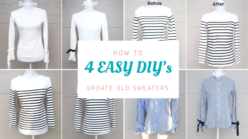4 Ways To Upcycle Old Sweaters Tops Super Easy Refashion Diy