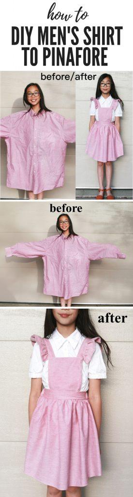 men's shirt to pinafore dress refashion DIY