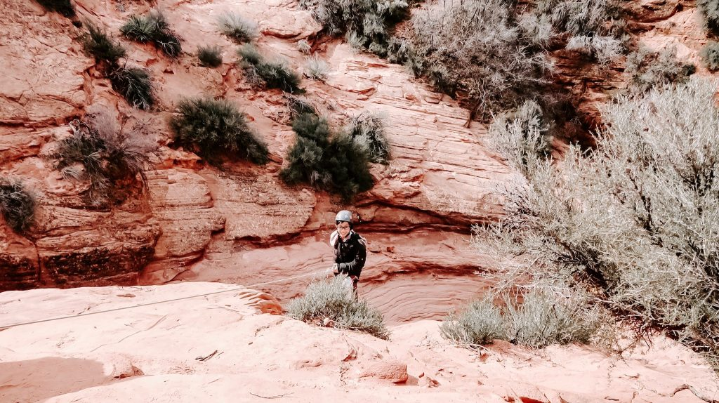 little girl rappelling at zion