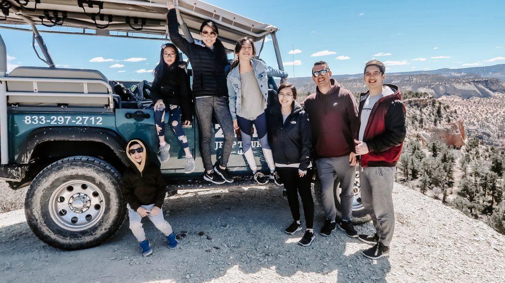 family jeep ride at zion ponderosa