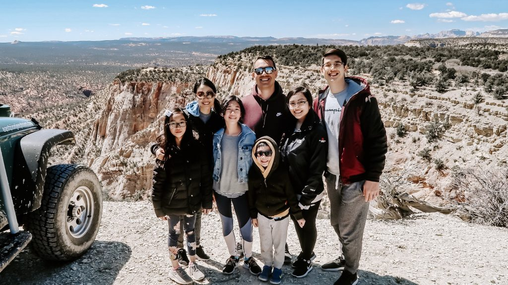 group smiling at zion overview