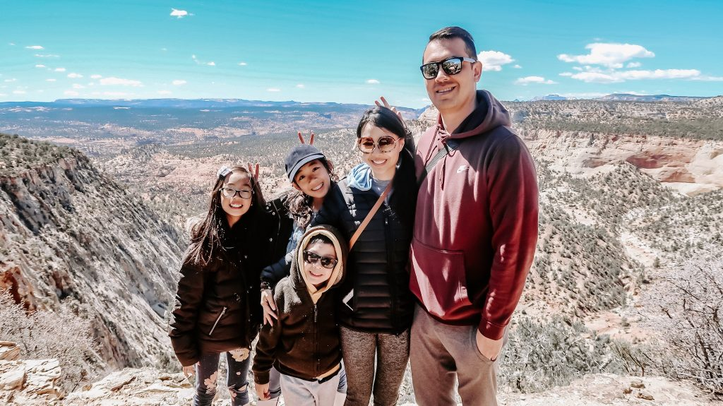 asian family at zion national park