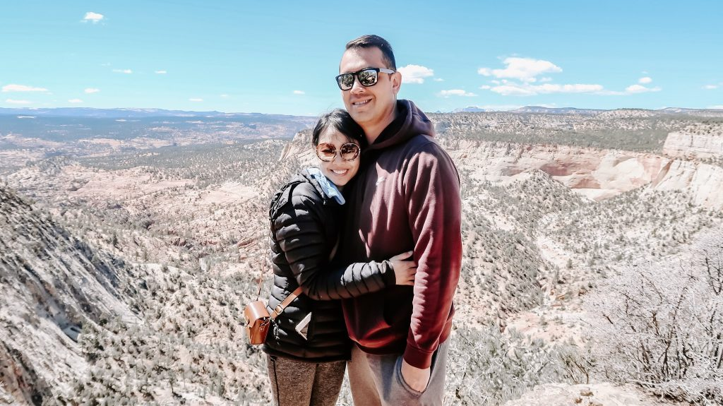 couple smiling at zion