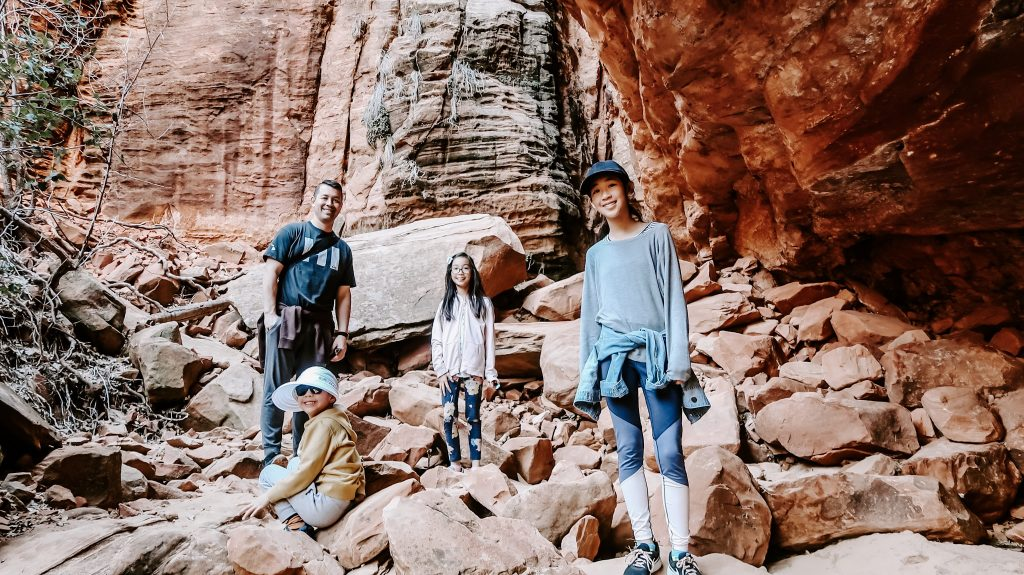 family hiking at zion