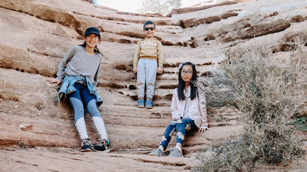 3 kids enjoying hike at zion