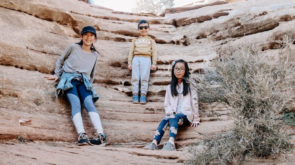 3 kids enjoying hike at zion