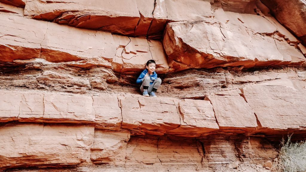 little boy hiking at zion