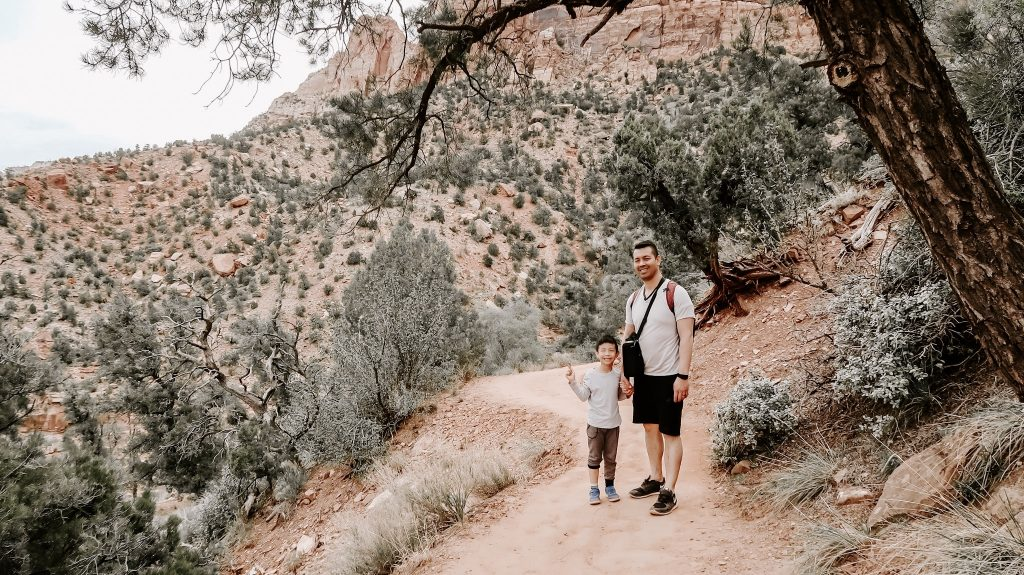 father son hike at zion